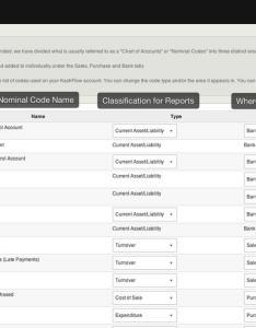 Chart of accounts details screen shot at also kashflow rh