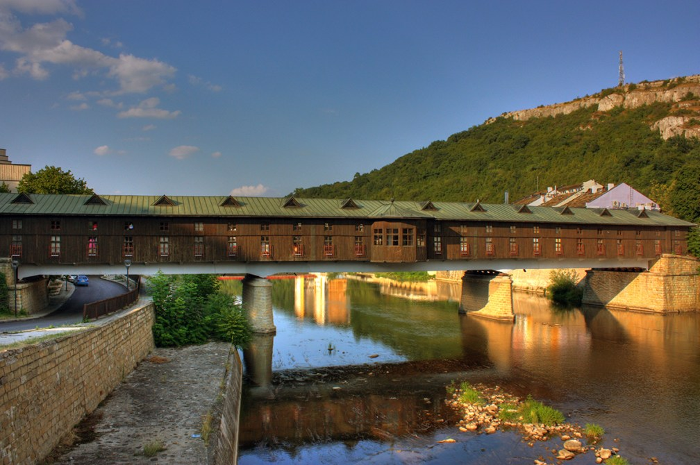 Bridge with shops inside: Covered Bridge in Lovech, Bulgaria