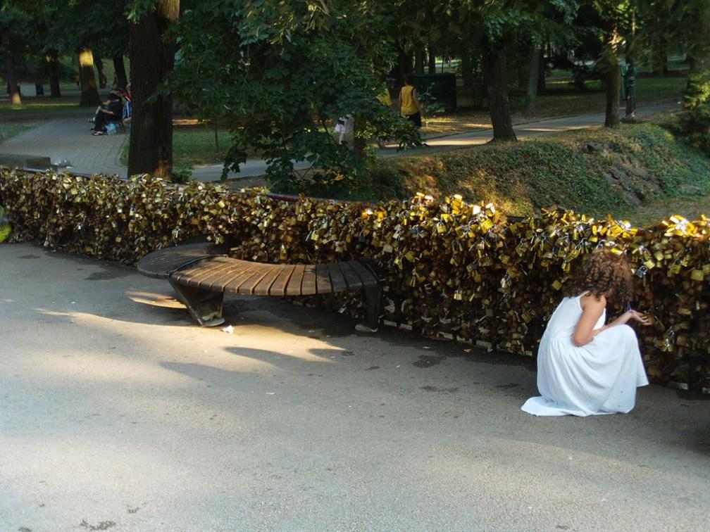 World's first love padlock spot: Bridge of Love in Vrnjačka Banja, Serbia.