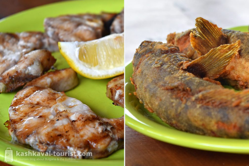 Grilled Black Sea shark fillets (left) and fried gobies (right)