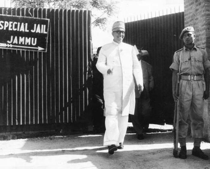 Sheikh Mohammad Abdullah coming out of Jammu jail before returning to power.