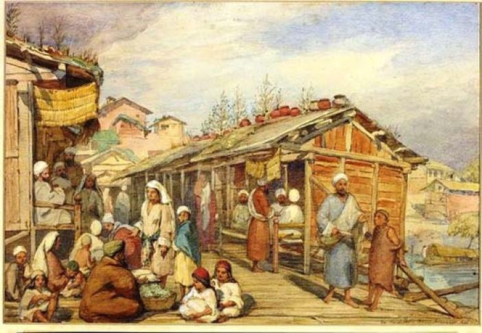 Life On Second Bridge: This chromolithograph is by British colourist William Carpenter Junior (1818-1899) who has made three trips to Kashmir starting 1853.