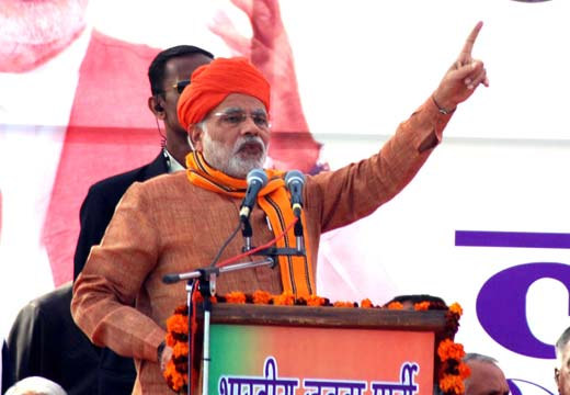 """BJP Prime Ministerial candidate and Gujarat chief minister  Narendra Modi addressing his """"Lalkaar"""" , recently,  Pic: Asif Naik"""
