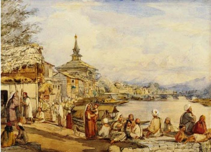 Near Khanqah-e-Moala: British colourist William Carpenter has drawn this picture during one of his three visits to Kashmir.
