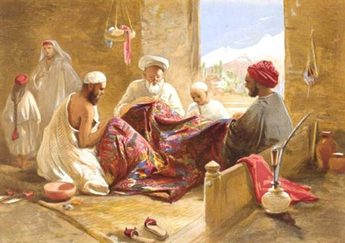 Weaving Dreams: This chromolithograph drawn was by Scottish artist, war artist and war correspondent William Simpson who visited Kashmir somewhere between 1859-60.