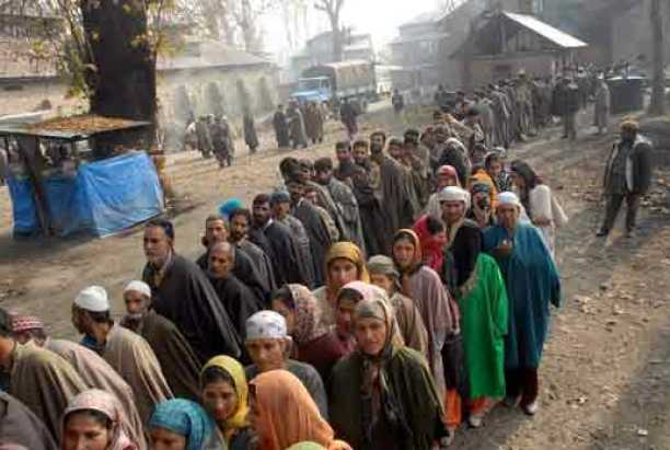 People-in-queue-outside--a-polling-booth-to-cast-their-vote-in-Ganderbal