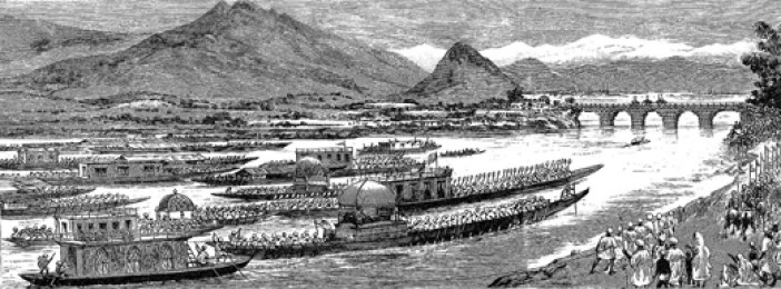 The Viceroy's tour in Kashmir: The procession of boats nearing the Sumbal Bridge on the way to Srinagar.