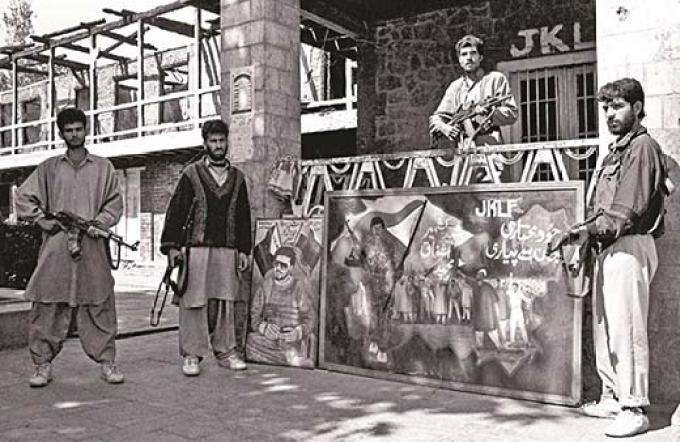 JKLF men stand alert at their Hazratbal headquarter in early 90s. Pic Courtesy: indialegalonline