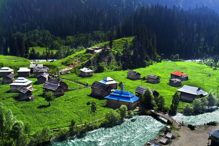 """Aerial view of """"Azad Kashmir""""."""