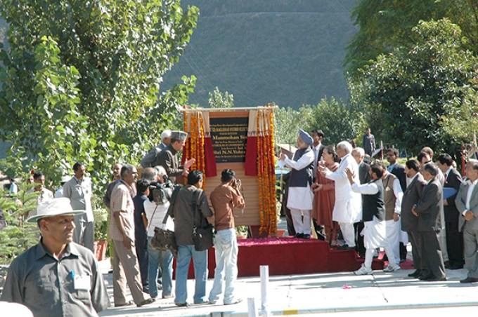 Dr Manmohan Singh, the then prime Minister inaugurating first stage of Baglihar.