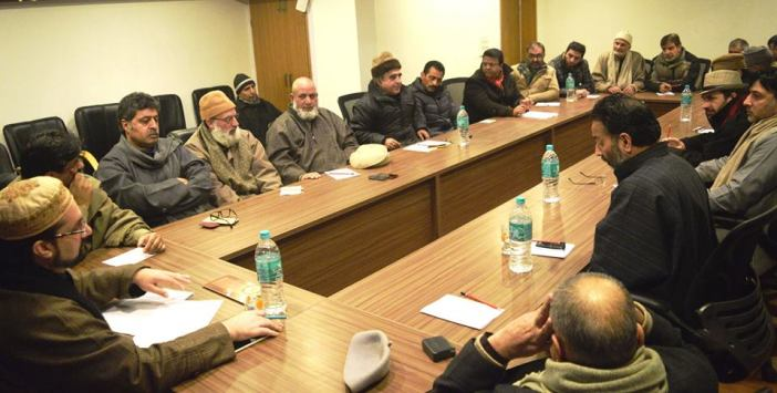 A meeting of All Parties Hurriyat Conference (m) discussing the Human Rights report on Wednesday at Rajbagh headquarters.