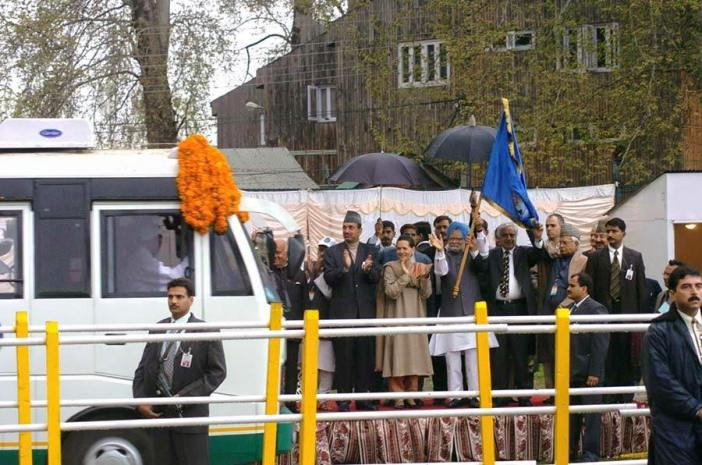 The launching of Cross LoC Bus Service via Srinagar-Muzaffarabad route in 2005.