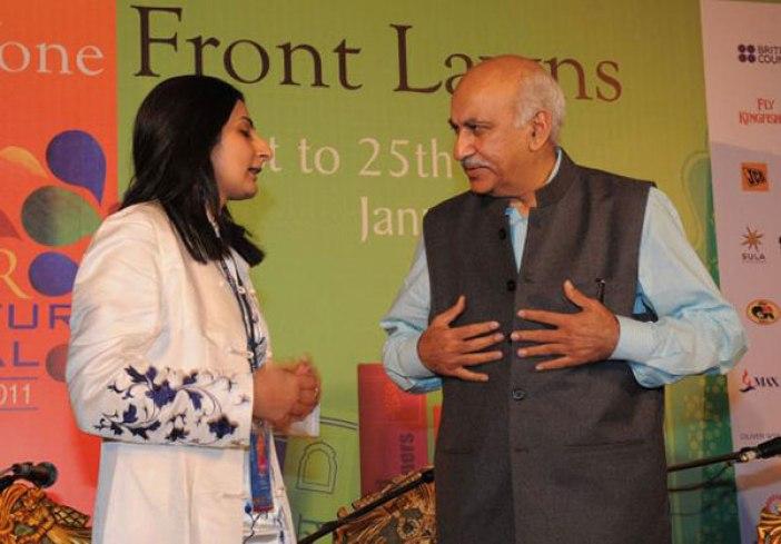 Nitasha Kaul with MJ Akbar at Jaipur Litfest 20111.