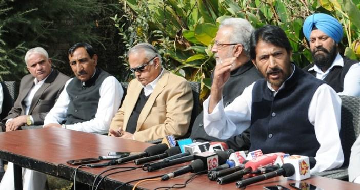 J&K Unit of All India Congress members addressing a presser in Srinagar on Oct 24, 2016. (KL Image: Bilal Bahadur)