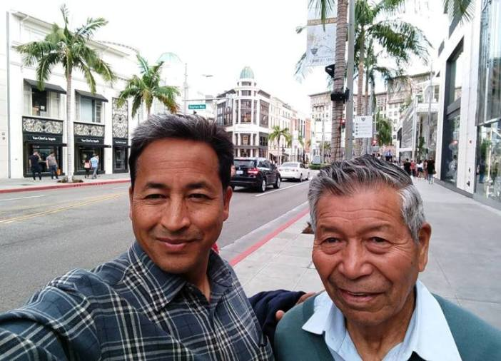 A Selfie in Hollywood: Wangchuk with Chhewang Norphel, the glacier builder