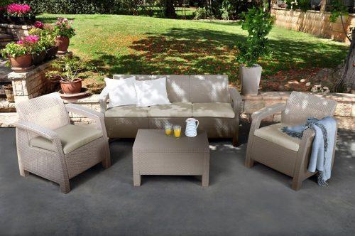 amazon sofa set 5 seater vinyl keter corfu outdoor garden lounge cappuccino with 40 cream cushion 179 99