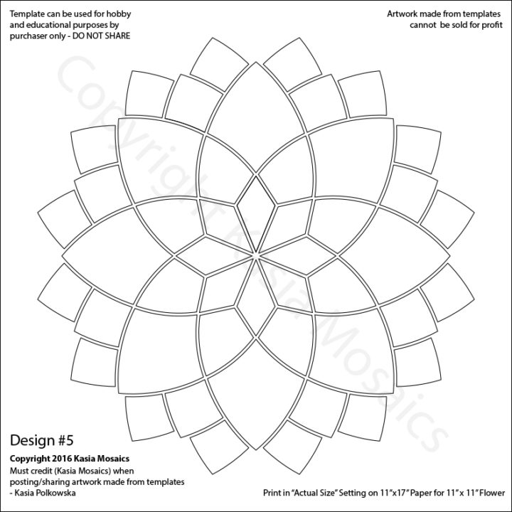 Kasia Mosaics Classes » Template Download: Flower Design #5