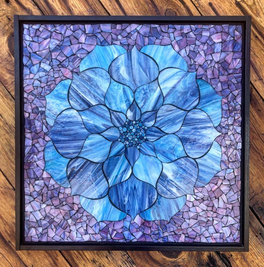 Blue Lotus Flower On Purple Super Sale Kasias Art Shop