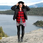 red black buffalo check plaid stripes pattern mix ootd outfit style