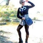 black and white disney mickey minnie outfit buffalo plaid thrift toastmasters ootd whatiwore2day