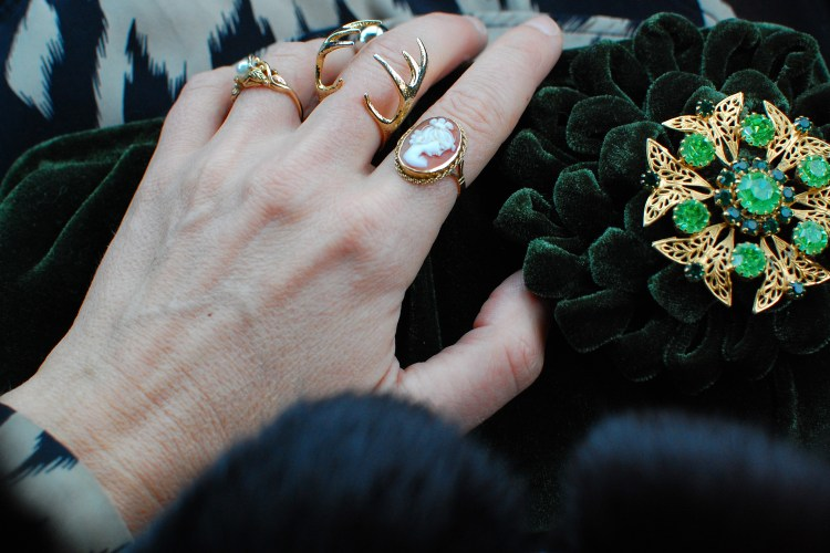 green velvet clutch holiday brooch antler ring cameo pearl