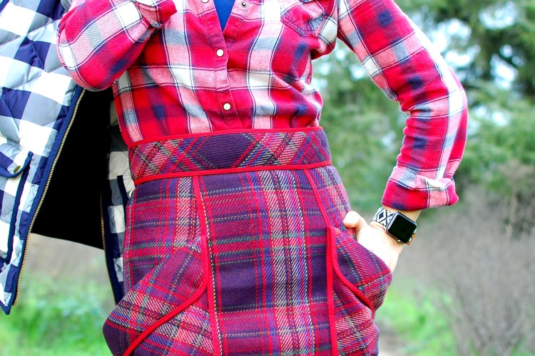 plaid buffalo check navy red pattern mix outfit ootd whatiwore2day