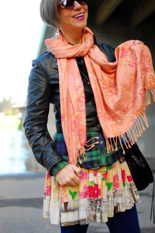 pattern mix ootd scarf plaid consignment thrift outfit style