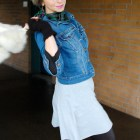 photographer outfit faux leather leggings fur denim jacket fingerless gloves