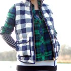 layer black white navy green vest flannel buffalo plaid check stripe pattern mix ootd