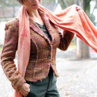 tweed olive scarf orange pink ootd business casual