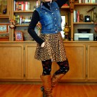 leopard floral denim vest tights skirt ootd outfit turtleneck black brown