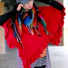 poncho scarf outfit gray black white red