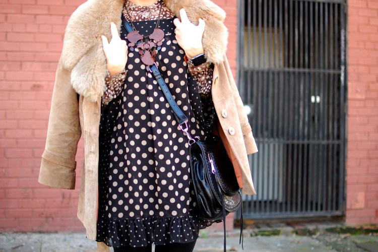 polka dot suede faux fur black and brown ootd outfit whatiwore2day