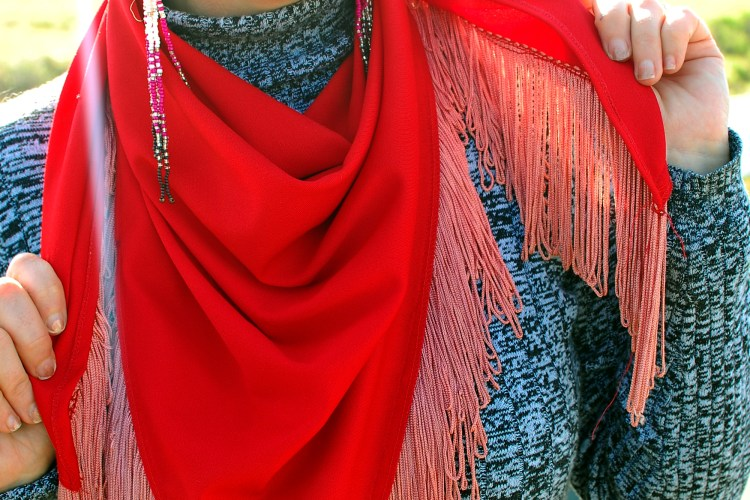scarf piano fringe red pink valentine ootd whatiwore2day