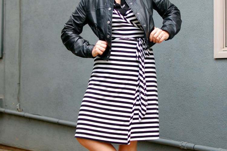 susbstitute teacher outfit leather jacket stripes wrap dress ootd whatiwore2day