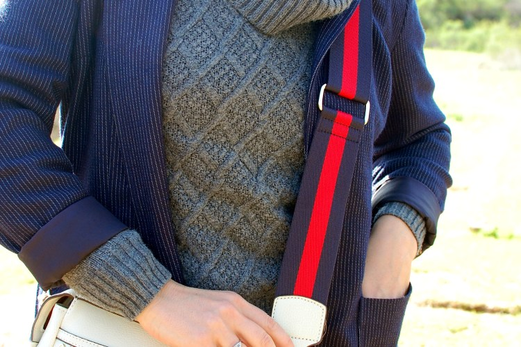 gray navy blazer cowl neck sweater outfit ootd substitute teacher whatiwore2day
