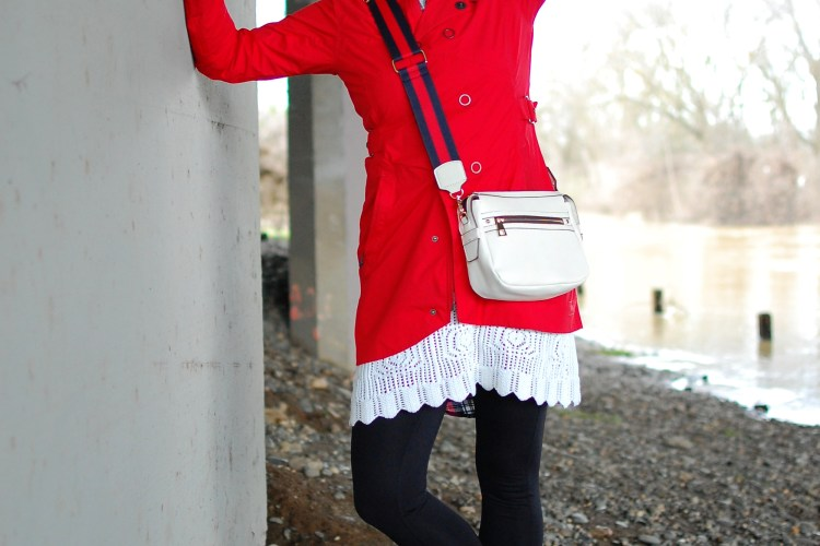 raincoat red white black rainy day ootd outfit whatiwore2day