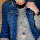 denim jacket long necklace olive gray sweater ootd whatiwore2day