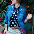 star bandana denim jacket brooch pin ootd whatiwore2day