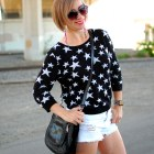star sweater black white outfit weekend ootd whatiwore2day