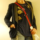 travel outfit black navy red cream ootd whatiwore2day