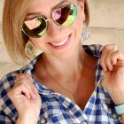 button up down front gingham california necklace heart sunglasses daily outfit blog ootd whatiwore2day