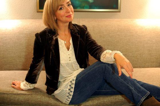 chocolate velvet blazer cream boho blouse fall daily outfit blog ootd whatiwore2day tassel