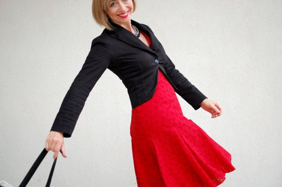red eyelet dress black blazer business casual presenter daily outfit blog ootd whatiwore2day