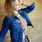 pink sweater denim jacket daily outfit blog whatiwore2day ootd