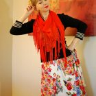 orange scarf floral skirt daily outfit blog ootd whatiwore2day
