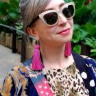 pink tassel earrings pattern mix daily outfit blog ootd whatiwore2day