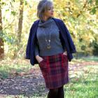plaid skirt gray sweater navy blazer ootd daily outfit blog whatiwore2day