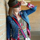 veterans day usmc service cap women ootd daily outfit blog whatiwore2day olive red navy