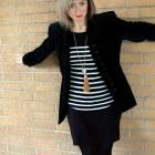 velvet blazer black white striped sweater daily outfit blog ootd whatiwore2day
